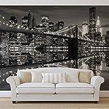 New York City Skyline Brooklyn-Bridge- Forwall - Fototapete - Tapete - Fotomural - Mural Wandbild - (1819WM) - XL - 254cm x 184cm - Papier (KEIN VLIES) - 2 Pieces