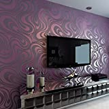 Europa HANMERO®Modern Abstrakt Mustertapete Curve Vergolden Wandbild Beflockung Streifen violette Tapete 8,4m*0,7m für Fernseherhintergrund, Wohnzimmer, Schlafzimmer