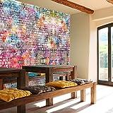 Fototapete Steinwand 366 x 254 cm inklusive Kleister Kinderzimmer Graffiti bunt Grunge Vintage Wall Art Jungen Steine Grafitti Tapete