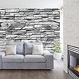 murimage Fototapete Stein 3D 274 x 254 cm inklusive Kleister Steinwand Schwarz Weiß Weiss Mauer Ziegel Tapete