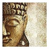 Fototapete Vintage Buddha, 3D Vliestapete für Schlafzimmer Wohnzimmer, 192x192cm