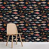 Bunte Fisch-Kuriositäten-Muster-Tapete Wand-Quadrat-Fototapete 3D-Abziehbilder Fresko-Büro-Hauptdekoration