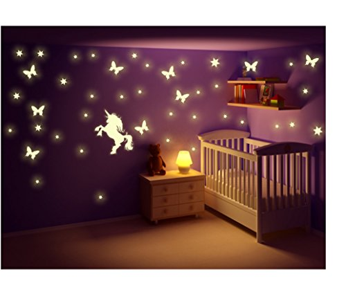 stickerkoenig wandtattoo nachtleuchtende leuchtsticker motive einhorn fee punkte sterne. Black Bedroom Furniture Sets. Home Design Ideas